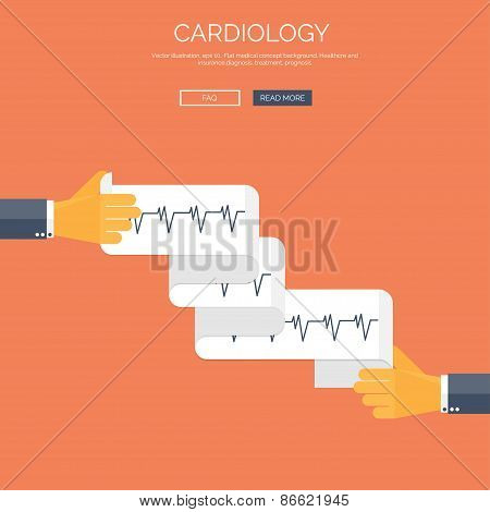 Vector illustration with cardiogramm. Flat health care and medical research background. Healthcare s