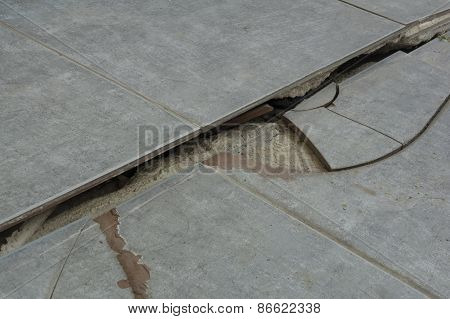 Cracked Old Floor Ground Cement Ages Ceramic Concept