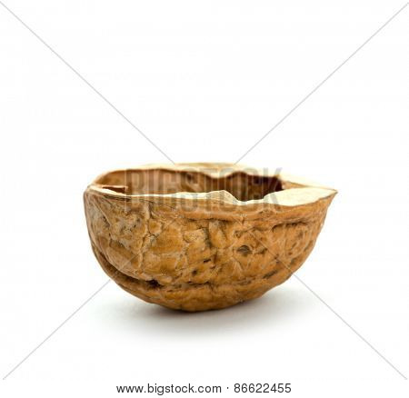 Walnut shell isolated on white