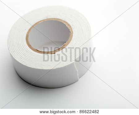 Closeup of white industrial tape isolated on white