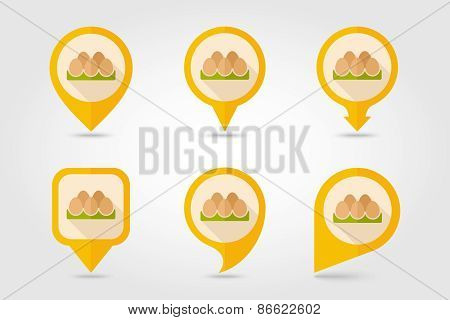 Chicken Eggs In A Tray Flat Mapping Pin Icon With Long Shadow