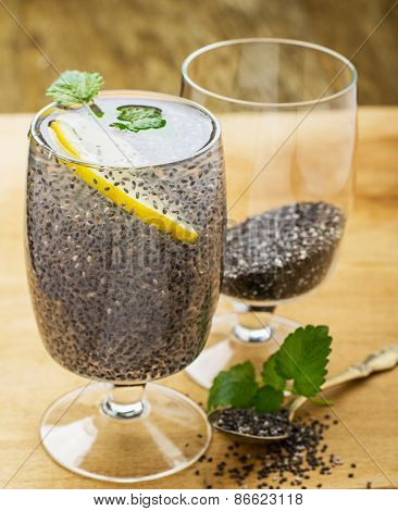 Chia seeds drink with water