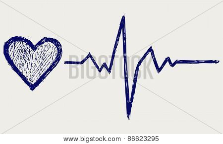 Heart and heartbeat symbol