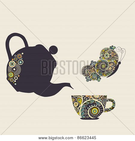Stylized Kettle, Cup And Butterfly With Design Elements