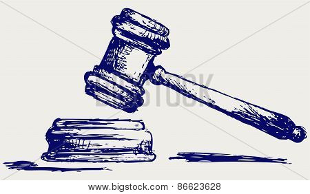 Judge gavel sketch