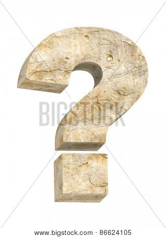 Question mark from sandstone alphabet set isolated over white. Computer generated 3D photo rendering.