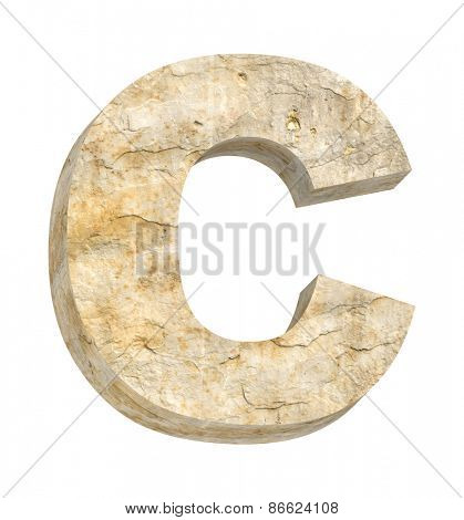 One letter from sandstone alphabet set isolated over white. Computer generated 3D photo rendering.