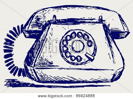 Telephone with rotary dial