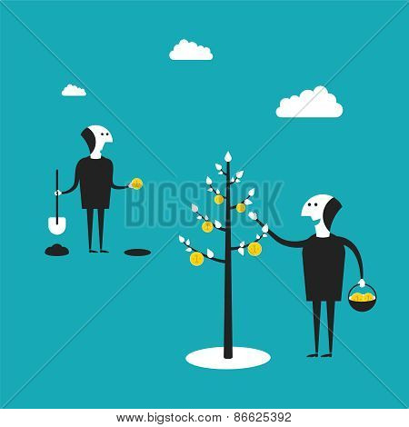 Vector Concept Of Profitable Business In Flat Cartoon Style