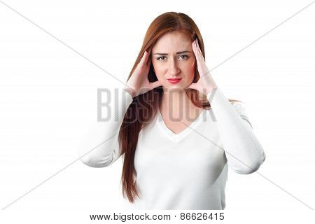 Young Redhead Woman With Headache Holding Her Hand To The Head
