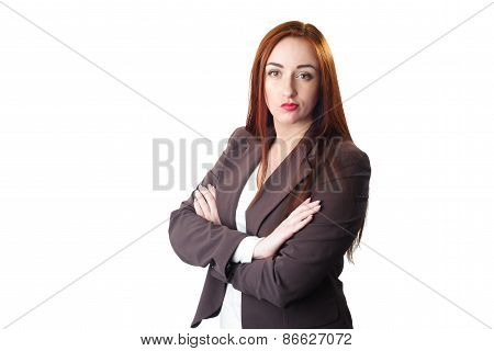 Young Redhead Business Woman Portrait With Disgust Face Expression