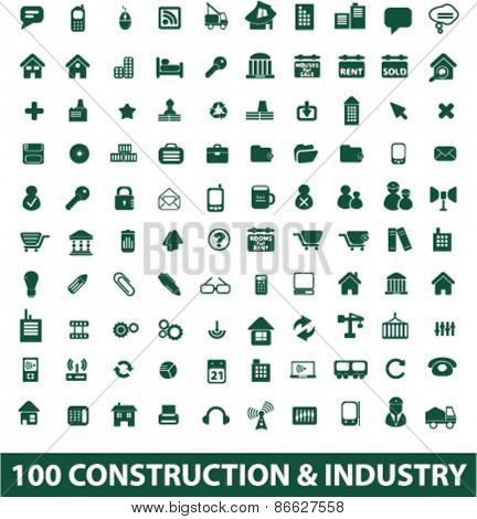 100 construction, industry, factory icons, signs, illustrations set, vector