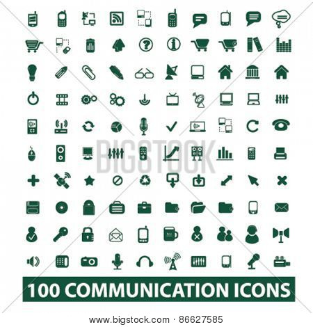100 communication, technology, connection icons, signs, illustrations set, vector