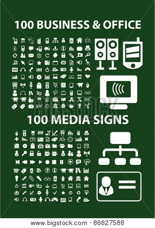 200 business, office, media, computer icons, signs, illustrations set, vector