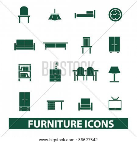 furniture, interior icons, signs, illustrations set, vector