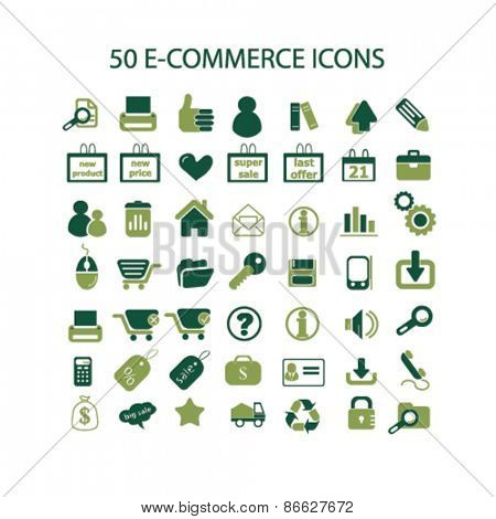 50 e-commerce, retail, sales icons, signs, illustrations set, vector