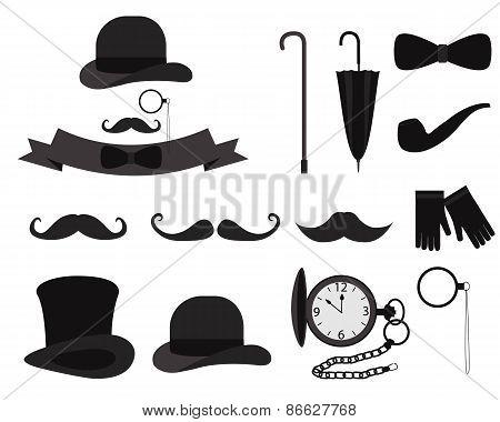 Set gentleman. Vintage men's accessories. Vector illustration
