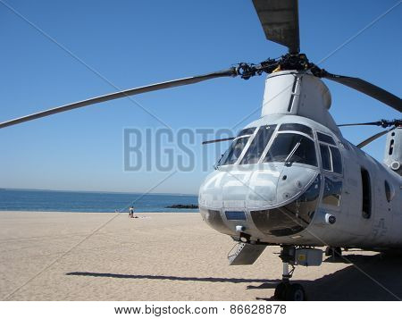 US Military Helicopter on the beach