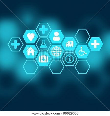 Medical background of the icons enclosed in hexagons