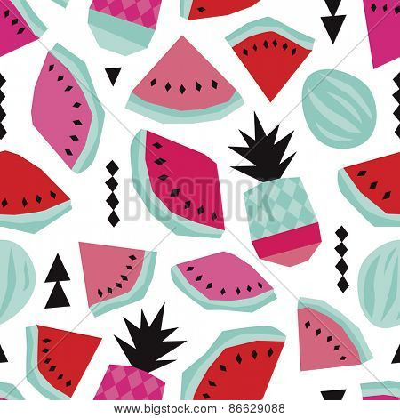 Seamless summer water melon and pineapple trendy bikini beach theme geometric illustration background pattern in vector