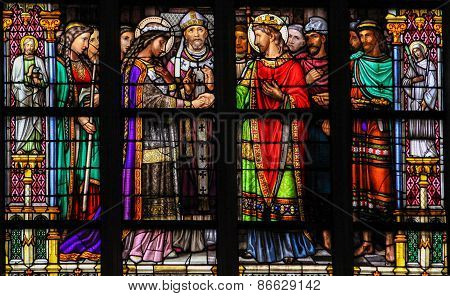 Stained Glass Of The Sacrament Of Marriage In Den Bosch Cathedral