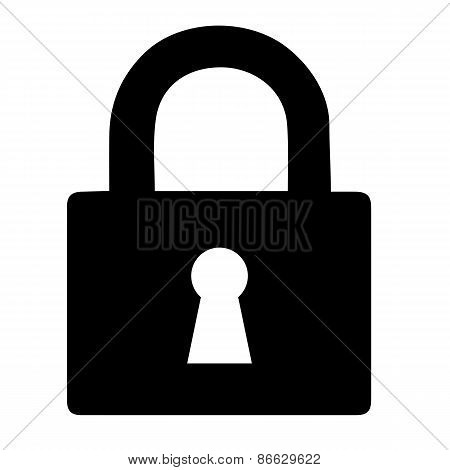 vector black lock icon on white background.