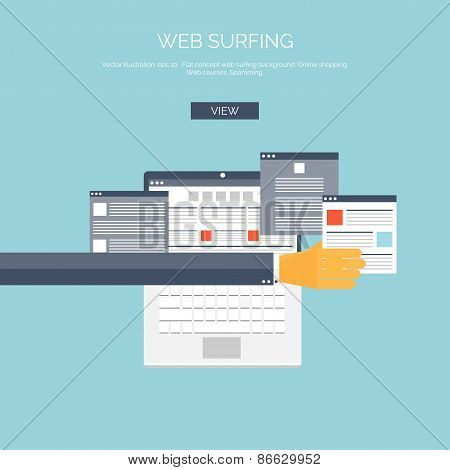 Vector illustration. Flat web surfing background with hand and laptop.