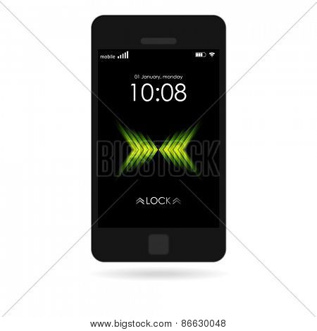 Black smartphone with bright wallpaper isolated on white. Vector design