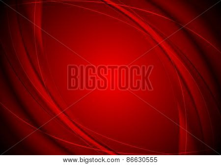 Dark red smooth wavy background. Vector design