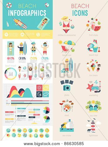 Beach Infographic set with charts and icons. Vector illustration.