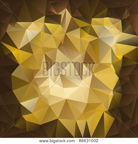 Vector Polygonal Background Pattern -  Triangular Design In Gold Colors