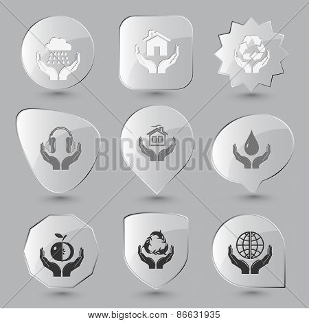 In hands set. Raster glass buttons.