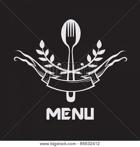 menu design with fork and spoon on black background
