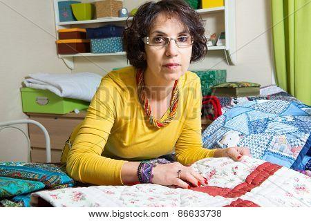 Dressmaker Working On Her Patchwork