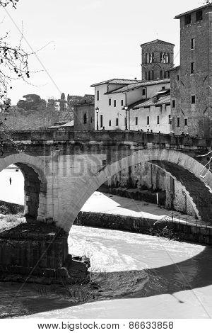Ponte Fabricius, the oldest bridge in Rome to Isola Tiberina