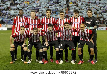 BARCELONA - MARCH, 4: Athletic de Bilbao lineup before a Spanish League match against RCD Espanyol at the Estadi Cornella on March 4, 2015 in Barcelona, Spain