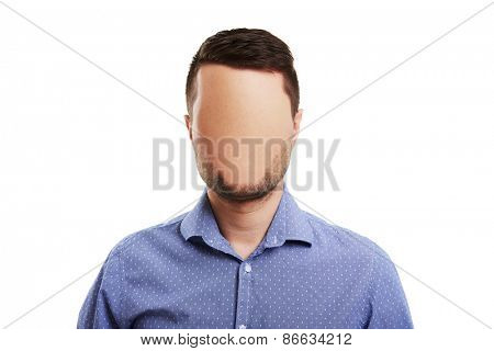 concept photo of businessman with blank face. isolated on white background