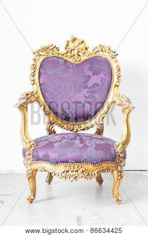 Royal Purple classical style Armchair sofa couch in vintage room