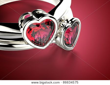 Golden Ring with Diamond heart shape.  Romance background