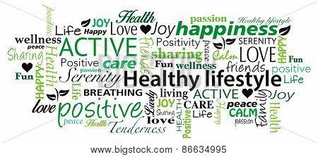Healthy Lifestyle word cloud vector