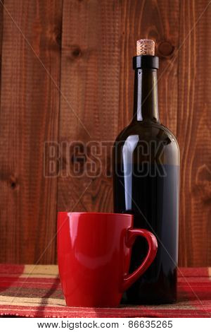 Bottle Of Wine And Red Cup