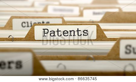 Patents Concept with Word on Folder.
