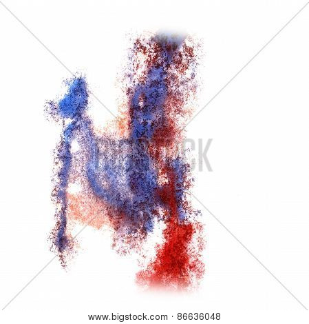 Abstract blue,red watercolor background for your design insult