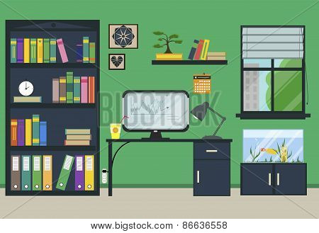 Flat home or office workplace with computer