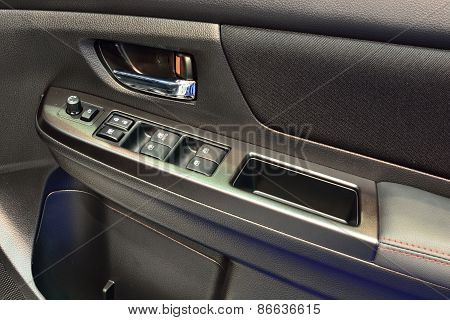 Bangkok - March 26 : Control Panel On Driver Side Door Of White Subaru Wrx, Sedan Vehicle, On Displa