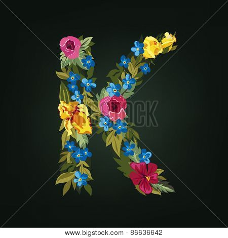 K letter. Flower capital alphabet. Colorful font. Uppercase.  Vector illustration.