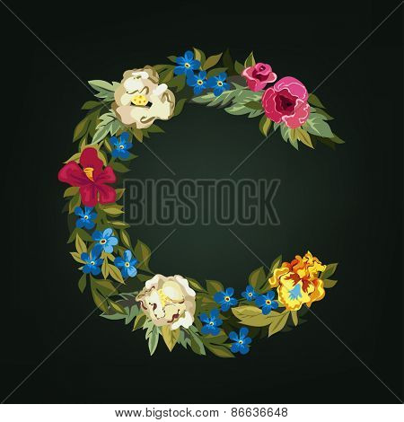 C letter. Flower capital alphabet. Colorful font. Uppercase.  Vector illustration.