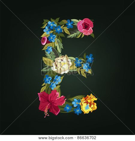 E letter. Flower capital alphabet. Colorful font. Uppercase.  Vector illustration.