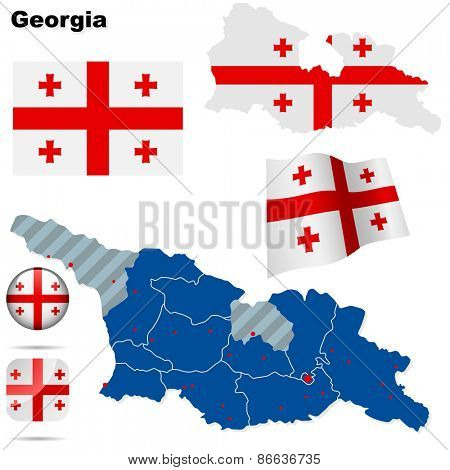 Georgia set. Detailed country shape with region borders, flags and icons isolated on white background.