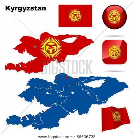 Kyrgyzstan set. Detailed country shape with region borders, flags and icons isolated on white background.
